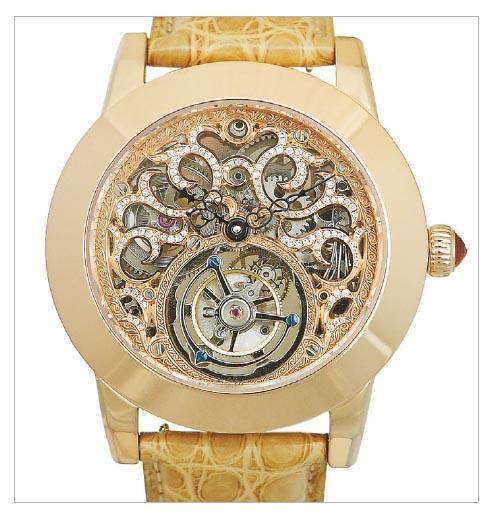 艾栢斯鐘錶應一本女性雜誌請求,為陳法拉設計及製造以配合拍照的18K玫瑰金女裝陀飛輪手表,已累積賣出200多隻。(公司網頁)