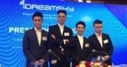 (左起)創夢天地首席營銷官何猷君、總裁高煉惇、主席兼首席執行官陳湘宇、首席財務官雷俊文。(陳子凌攝)