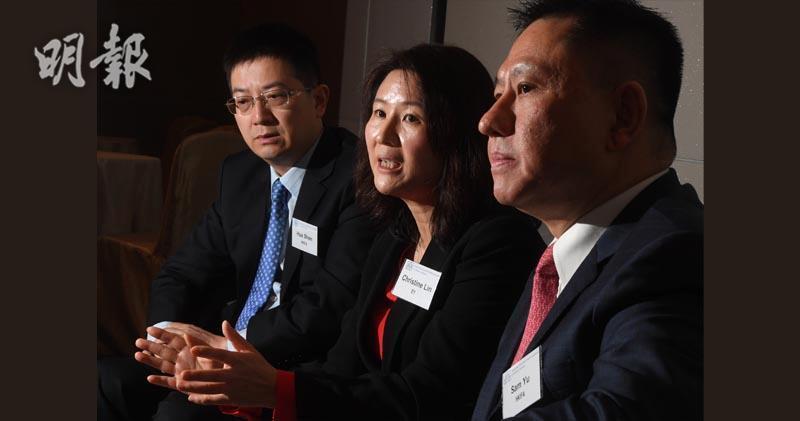 左起:香港投資基金公會副主席沈華、安永會計師事務所財富及資產管理服務主管合伙人林小芳、霸菱資產管理(亞洲)有限公司董事總經理余振聲。(劉焌陶攝)