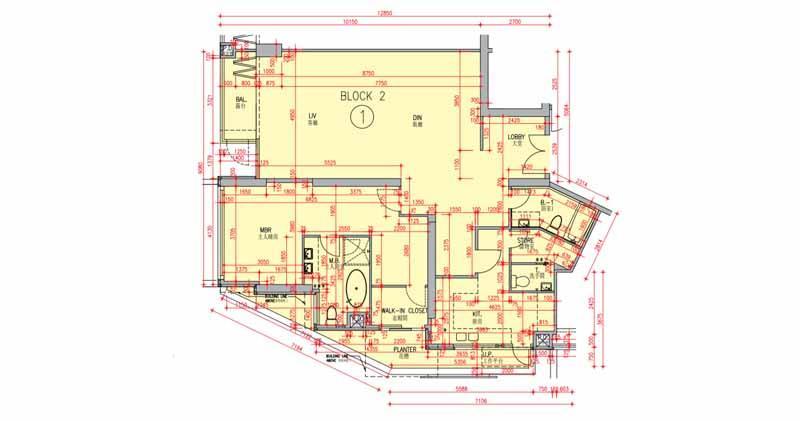 翠雅山1463方呎一房「細」單位圖則。