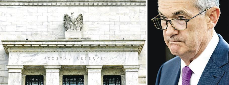 聯儲局會議紀錄顯示,官員開始關注經濟可能出現放緩。右圖為聯儲局主席鮑威爾。(資料圖片)