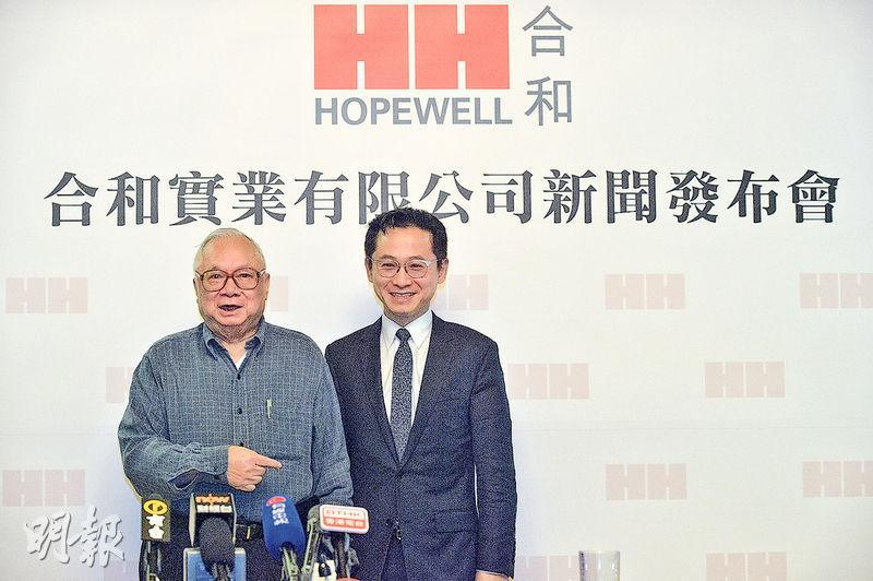 合和昨發公告,大股東胡應湘(左)家族提出以約46.7%溢價私有化,涉及總代價約212.56億元。不過,今次提出私有化的要約方並未包括胡應湘兒子胡文新(右)。(資料圖片)