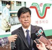 HMV臨時清盤人泓信會計師行代表黃新強(圖)表示,截至上月HMV帳面已欠債4000萬元。(李紹昌攝)