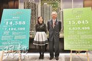 華懋銷售部總監吳崇武(右)透露,朗城匯今批單位價單定價計市值5.7億元,最快下周發售。(馮凱鍵攝)