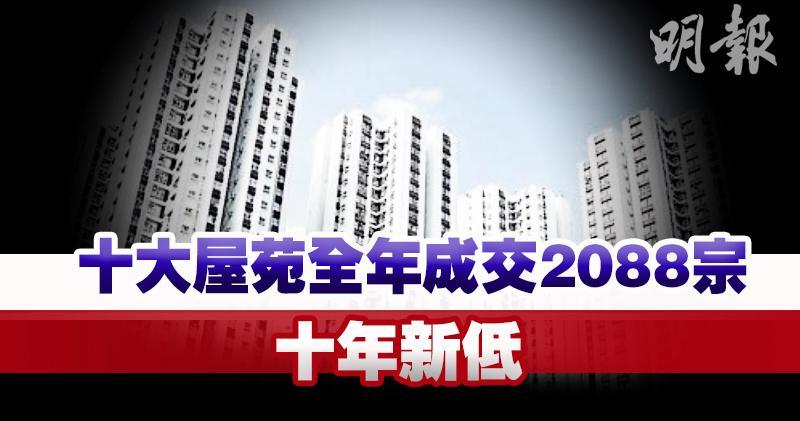 中原十大屋苑全年成交2088宗創十年新低,圖為太古城(資料圖片)