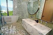 主人浴室以大量白色雲石鋪砌,分別設有鵝蛋形浴缸及淋浴間,戶主可外望開揚景色。(劉焌陶攝)