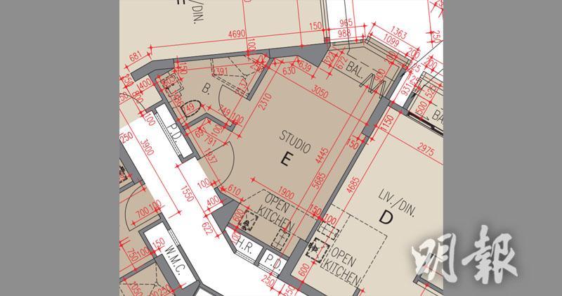 The Carmel 最細一款實用259方呎開放式戶圖則。