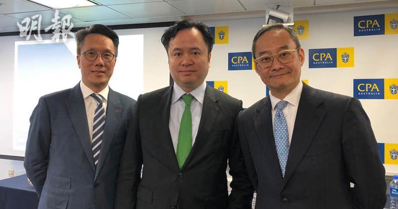 圖為北京高華證券董事總經理姚嘉仁(左)、綠庭東園資本董事總經理鄧偉基(右)