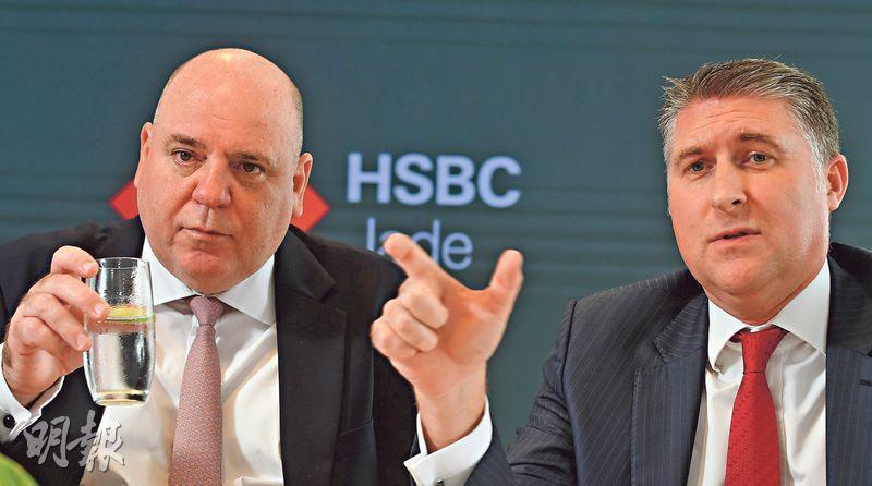 匯豐亞太區零售銀行及財富管理業務主管麥浩宏(左)表示,「尚玉」是集團在亞洲增長的重要引擎。旁為匯豐香港區零售銀行及財富管理業務主管欣格雷。(劉焌陶攝)
