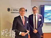 瑞士嘉盛首席策略師Jan Amrit Poser(左)稱,對中美在3月促成貿易協議感到樂觀,指貿戰對雙方而言都代價不菲,兩國進口明顯下跌,有達到共識的誘因。(王俊騏攝)