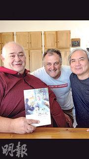 為我紅酒書《酒時光》寫序的普羅旺斯釀酒大師 Philippe Cambie (左)和「甲蟲」酒莊莊主(中)是摯友,大家在莊園湊巧碰面當然東拉西扯高談闊論啦!