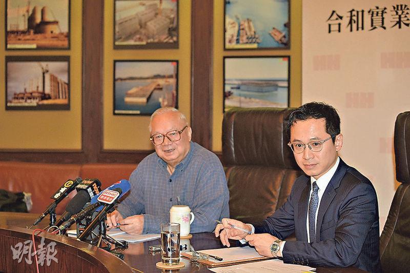 合和去年底獲主席胡應湘(左)家族提出私有化,其中胡應湘岳父、執行副主席兼董事總經理胡文新(右)外公郭子華昨申報,在提出私有化要約翌日,沽出4萬股,套現約136.4萬元。(資料圖片)