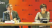 星展香港行政總裁龐華毅(左)表示,由於今年以來港美息差拉闊,因此該行首季息差受壓,預期全年息差有望持平。旁為董事總經理及財務總監陳立珊。