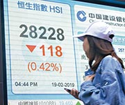 匯控去年業績遜預期,拖累恒指昨午轉勢,收市跌逾百點至28,228點。(中新社)