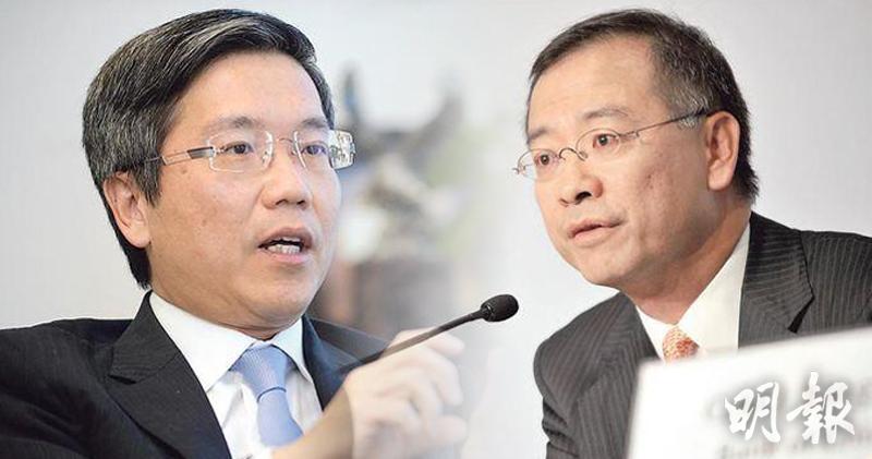 金管局現時三名副總裁 余偉文(右)及阮國恒(左)年資最長。(資料圖片)