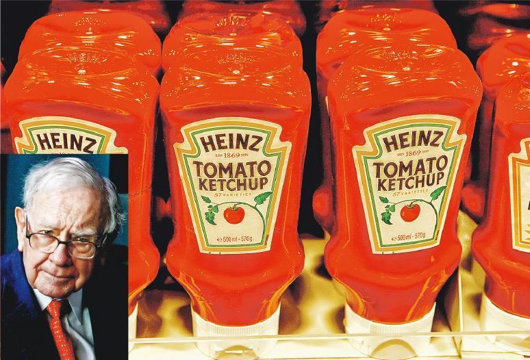 美國食品巨擘卡夫亨氏上季虧損達126億美元(983億港元),每股虧損10.34美元,為巴菲特(小圖)的投資旗艦巴郡帶來逾40億美元的帳面損失。大圖為卡夫亨氏旗下產品。(資料圖片)