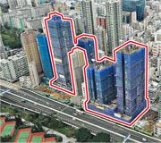 長實與市建局合作的海壇街重建項目「愛海頌」(紅框示),前臨西九龍走廊及南昌邨,且鄰近多個市建局重建項目。(蘇智鑫攝)