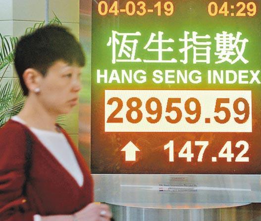 貿易談判再傳進展,利好昨日中港股市高開,恒指早市曾突破29,000點,但下午升幅收窄,與A股一同走弱,收報28,959點。(中新社)