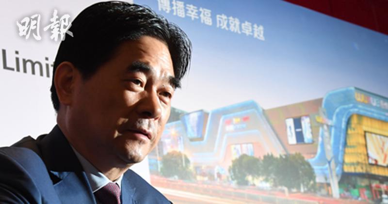 新城發展 (1030) 全年業績 PC,主席王振華。(劉焌陶攝)