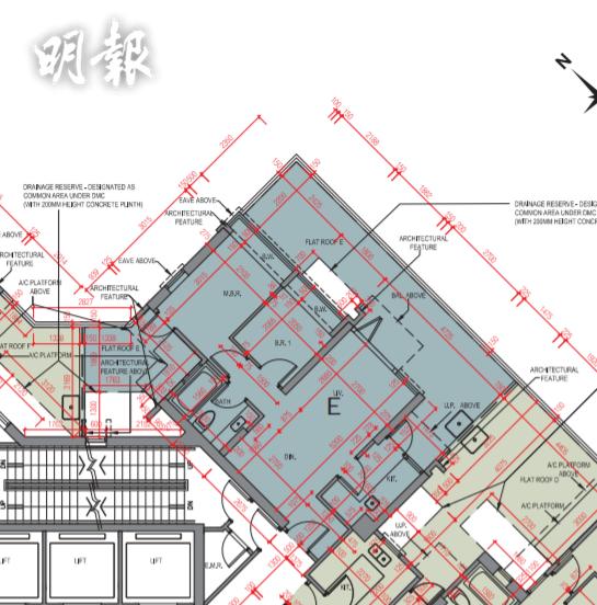 曦臺最細單位,2座5樓E室,456方呎,連268呎平台。