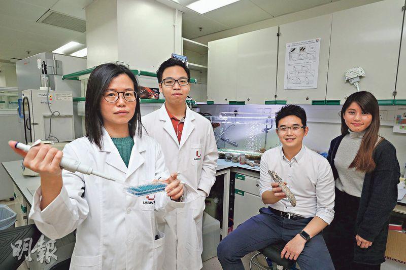 立威生物科技共同創辦人薛志威(右二)強調,海參並不只是過時過節吃的一道菜那麼簡單,而是擁有非常高的營養價值,值得全世界的科學家繼續深入研究。圖為他與該公司科技總監陳嘉儀(左一)等同事合照。(曾憲宗攝)