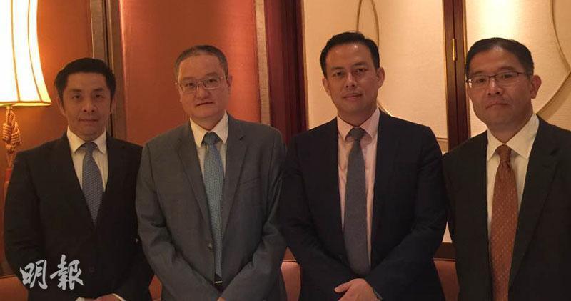 (左起)永達汽車公共關係辦公室副總監陳佳雄、副總裁唐華、副總裁唐亮、副總裁董穎(陳子凌攝)