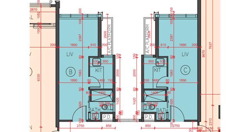 海日灣II最細實用面積243方呎的開放式戶,圖中為6座B、C室