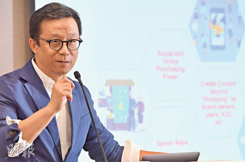 香港電視去年宣布全面退出電視業務,目前主業為HKTVmall,王維基稱,對「香港電視」四字好有感情,未有考慮改名。(劉焌陶攝)