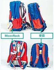 從其中一款安踏涉嫌侵權的書包外觀看,無論用色、設計(上圖)都相似,最大分別就是安踏的書包並沒有MoonRock的護脊功能(下圖)。(受訪者提供)