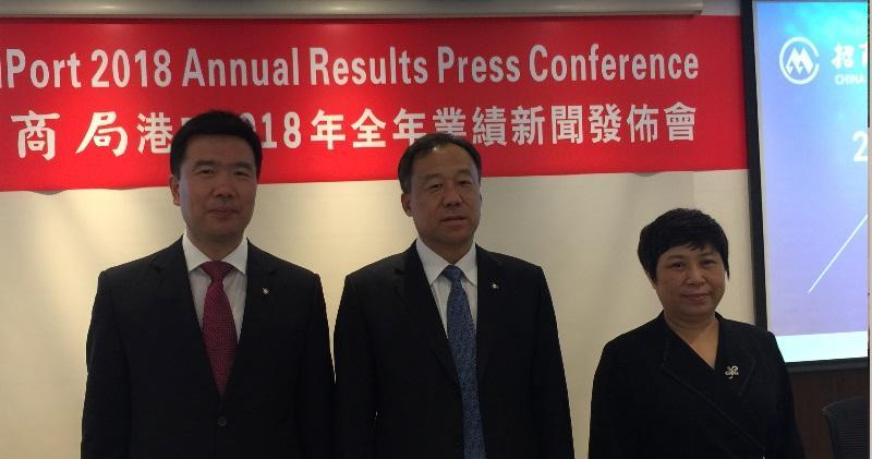 圖左起:招商局港口副總經理嚴剛、董事總經理白景濤、財務總監溫翎。