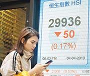 昨日恒生指數收市報29,936點,下跌50點或0.17%,全日成交1,089億元。(中通社)