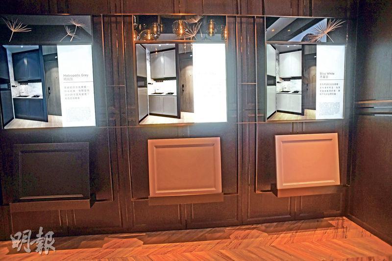 為增加單位獨特性,發展商亦為買家提供3種廚櫃顏色,讓買家自由選擇。(劉焌陶攝)