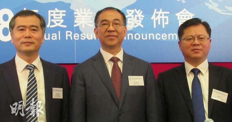 中交建:未需為馬來西亞東海岸鐵路撥備。左起:財務資金部總經理朱宏標、財務總監彭碧雲、董事會秘書周長江。