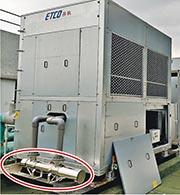 香港代理商在香港客戶的散熱機組加裝紫外光殺菌器(紅圈示)。