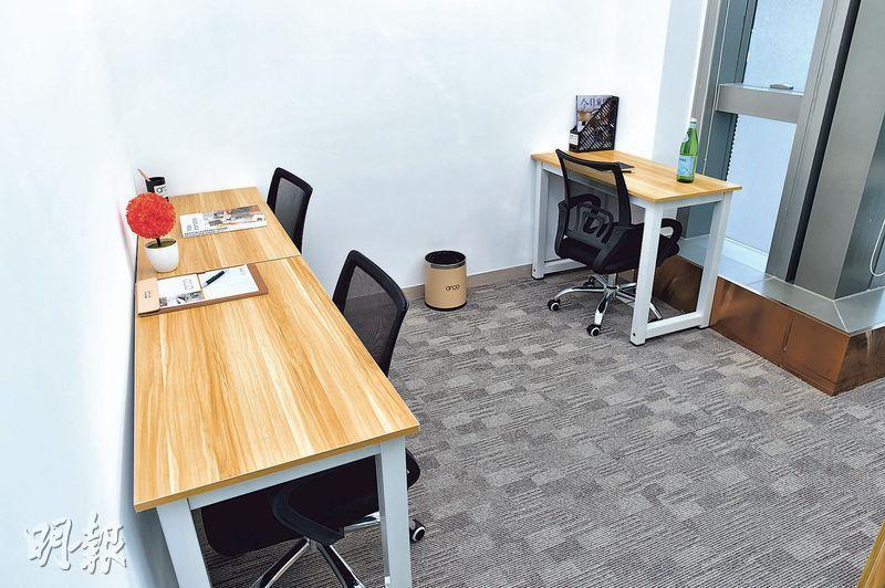 ARCO表示,辦公室租金包括室內家具,租戶可按個人喜好選擇,圖為3人辦公室,月租近3萬元。(鍾林枝攝)