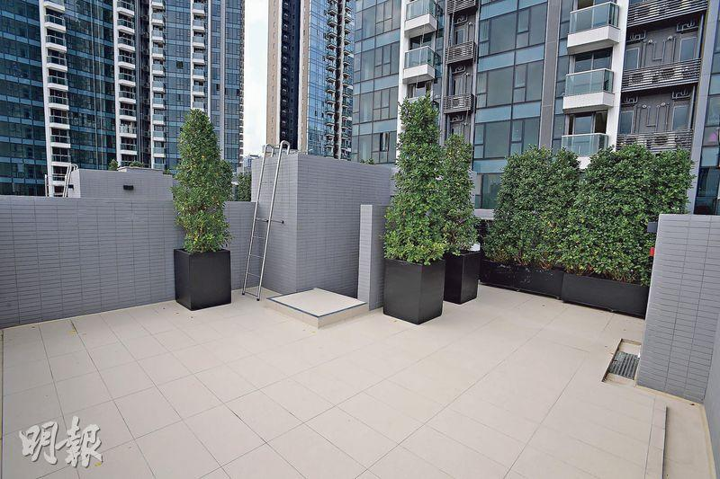 單位內置樓梯可直達實用458方呎的天台,為住戶提供充足戶外空間。(楊柏賢攝)