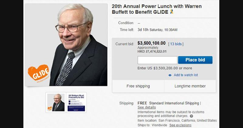 巴菲特午餐會拍賣價再創新高