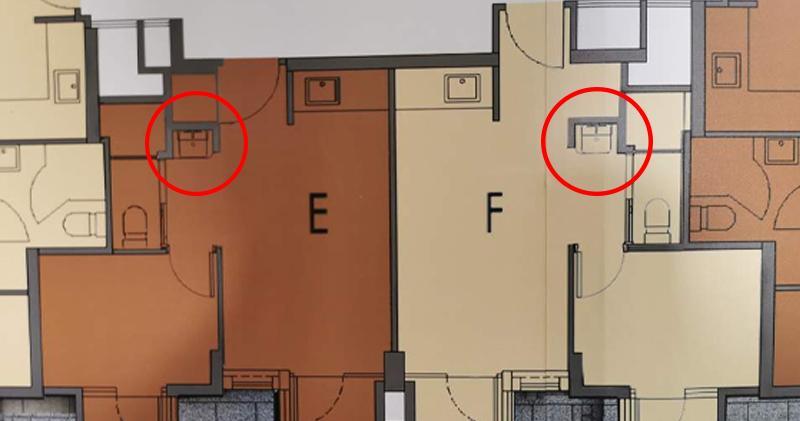 項目一房圖則,紅圈為洗手盤位置