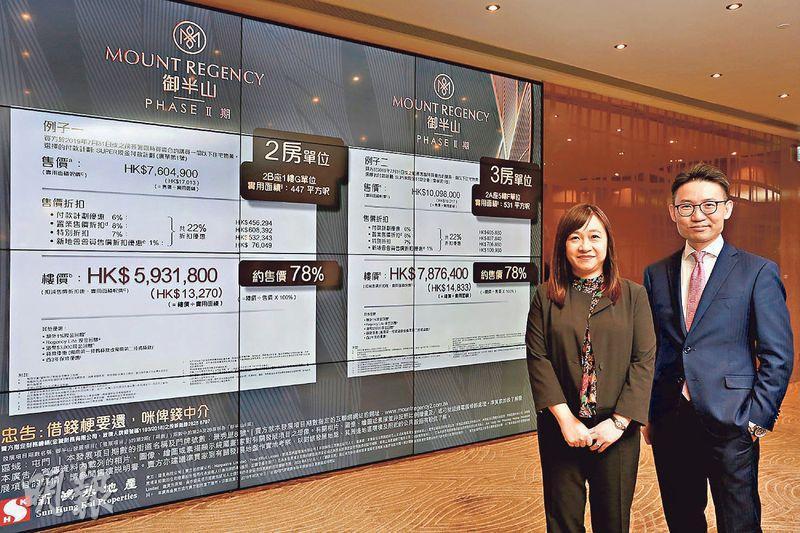 新地張卓秀敏(左)表示,今次御半山II期的開價,參考去年推售的一期,並不存在減價出售。
