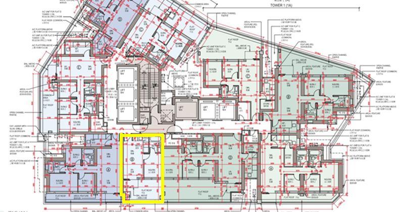 黃圈為1B座6樓B室,為全盤最細的單位(項目樓書)