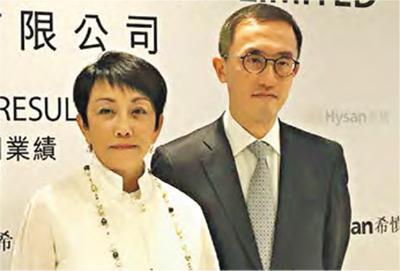 希慎主席利蘊蓮(左)預期,下半年不明朗因素繼續影響投資需求。旁為財務總監賀樹人。