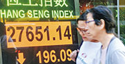 港股在連升6日後斷纜,開市後恒指跌幅擴大,收市跌196點或0.7%,報27,651點。(中通社)