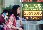 恒指昨日升128點,收報26,595點,成交金額672億元;一周累計,恒指累升1.01%或268點。(中新社)