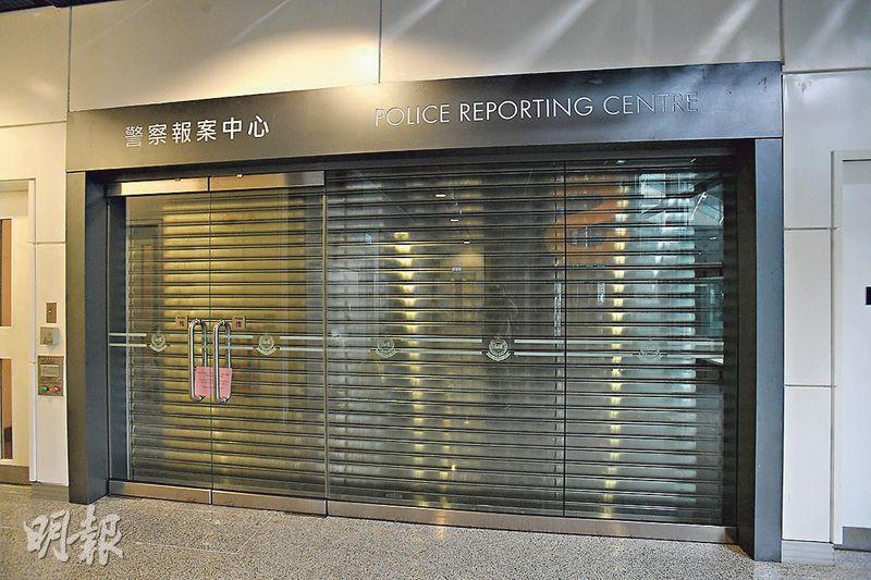 啟德郵輪碼頭客流不多,不少商場店舖撤出營運,連報案中心亦「落閘」。(楊柏賢攝)