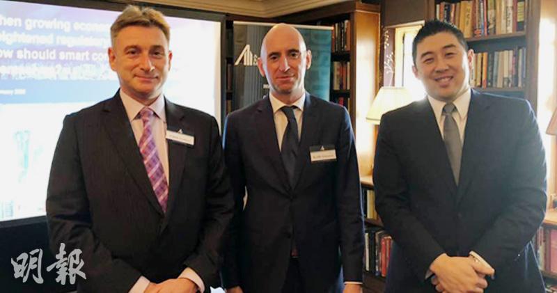 左起:安邁法證會計顧問有限公司董事總經理霍德傑(Chris Fordham)、韋謙信(Keith Williamson)、張章鎧(Davin Teo)