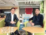 萬方最近聯同共享辦公室營運商WorkTech合資開設Raffles Tech。圖左為萬方家族辦公室關志敏、右為WorkTech創辦人及主席Michael Wong。(陳偉燊攝)
