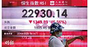 港區國安法草案內容引發市場避險情緒,恒生指數全日急挫1349點或5.56%,而反映香港本地企業表現的MSCI香港指數,跌幅更達6.8%,創2008年10月後最大單日跌幅。(林靄怡攝)