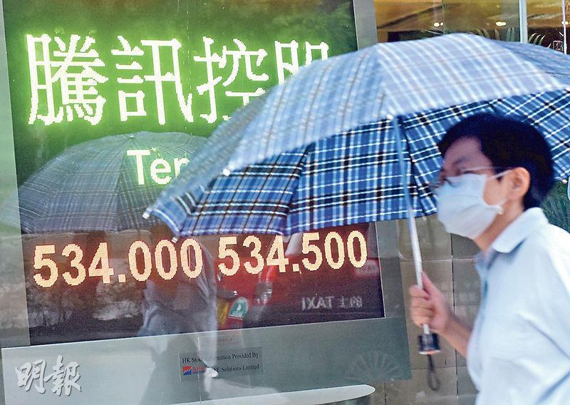 騰訊昨日在U盤時段收跌,導致大市在升近25000點前「行人止步」。(中通社)