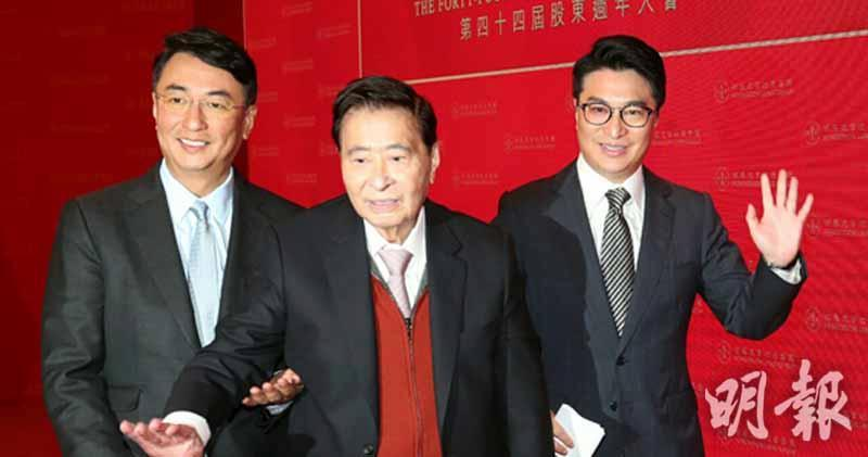 恒地創辦人李兆基(中)、與集團兩位聯席主席李家傑(左)、李家誠(右)。資料圖片