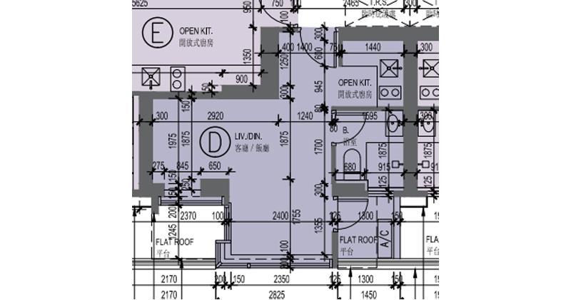 傲寓面積最細單位為2樓D室,面積262方呎,屬開放式間隔,為連18方呎的平台特色戶。